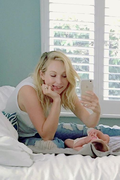 """Candice Accola with her baby - craccola: When she's all, """"I want to hold my own bottle while you make silly faces at me."""" I like your style Florence May  #momlife"""