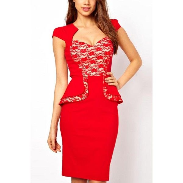 Red Cap Sleeve Lace Peplum Party Dress ($21) ❤ liked on Polyvore featuring dresses, red, fitted cocktail dresses, red evening dresses, red lace dress, lace cocktail dress and cocktail dresses
