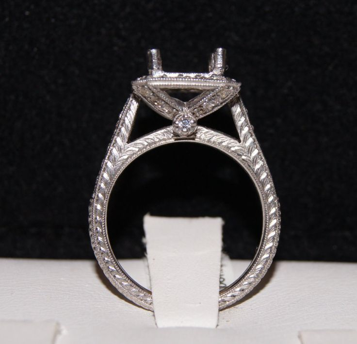 antique inspired vintage style white gold and diamond engraved halo engagement ring,setting only,semi mount for 7x7 mm princess cut stone by shopevintage on Etsy https://www.etsy.com/listing/230603541/antique-inspired-vintage-style-white
