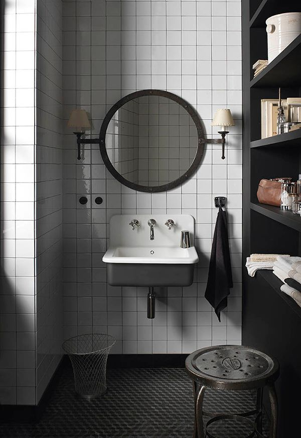 DuPont bathroom black shelf white tiled bathroom vintage style sink round mirror