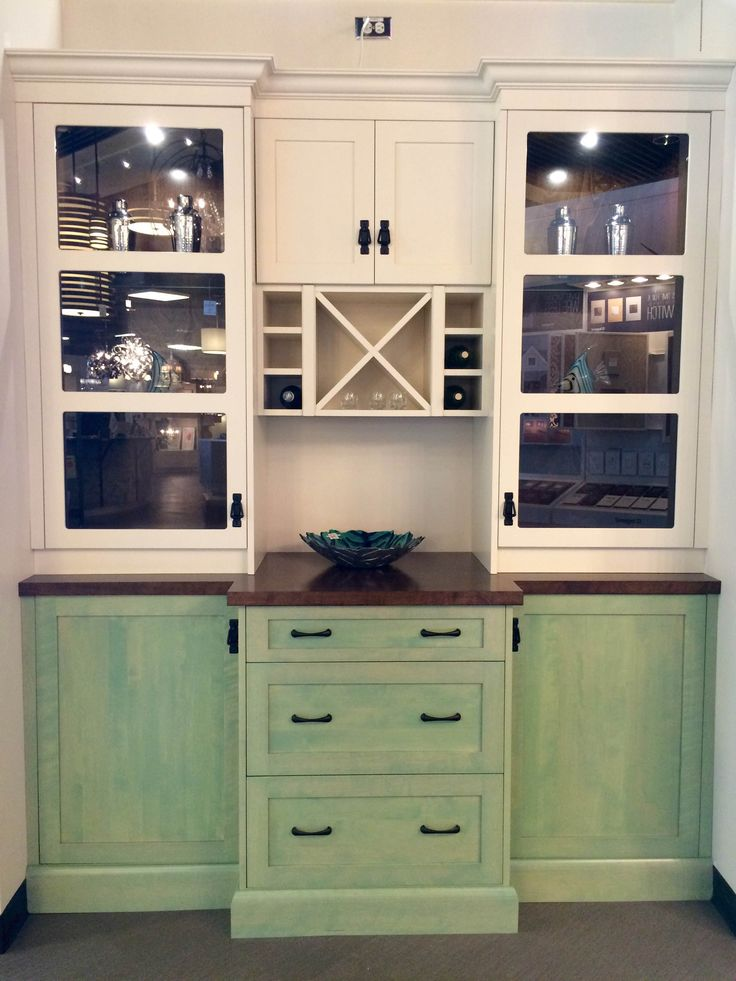 Custom Wine Hutch in a Beautiful mix of green and white cabinets, all made by @progressivecabinets available @Station12