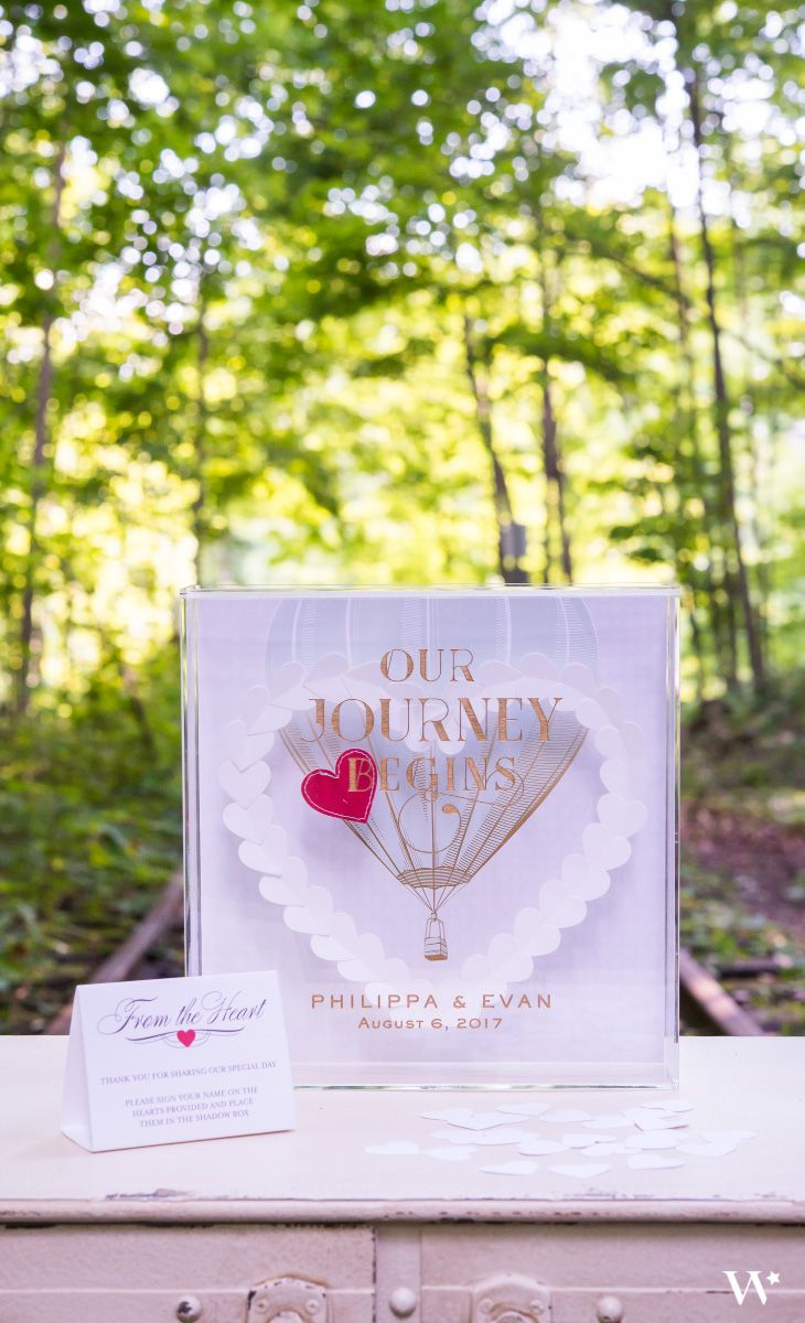 This acrylic guestbook is anything but traditional. Inspired by the wanderlust wedding style, this imaginative guest book will help you put a fresh spin on your guest registry.