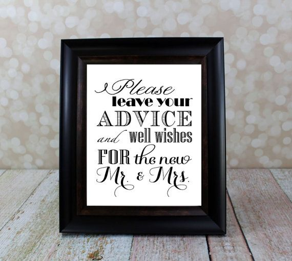 Well Wishes And Advice Table Sign Mr Amp Mrs Bride And Groom Sign Instant Download Wedding