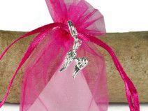 10 Gastgeschenk Taufe  Organzasäckchen pink