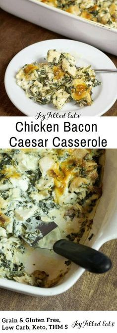 This gluten free, low carb, keto, Chicken Bacon Caesar Casserole is great when you are pressed for time. It is easy, flavorful, and can be made ahead. Grain free. THM S.