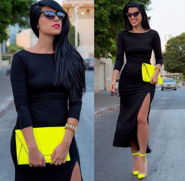 Love the combination of black and neon yellow outfit by Shani