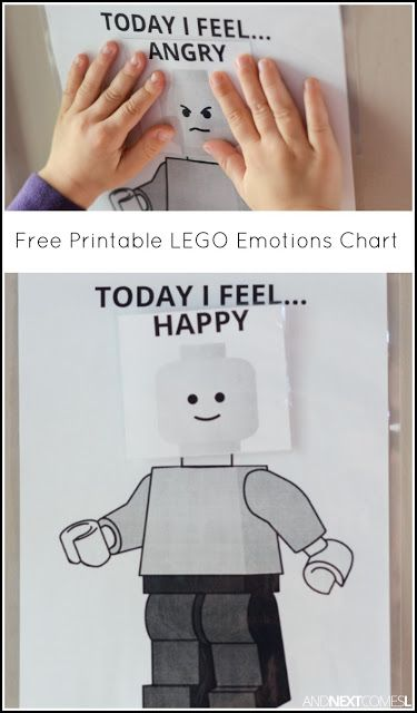 "Free Printable LEGO ""Today I Feel"" Emotions Chart - awesome idea for little Lego fans to learn about emotions!"