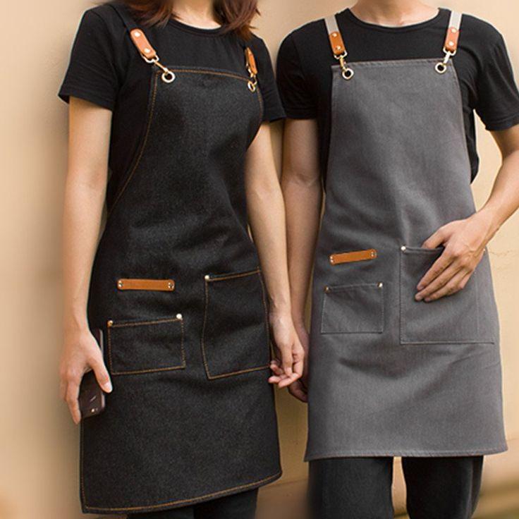 Black Grey Denim Apron Crossback Cotton Straps