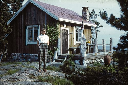 "Tove Jansson on the island of Bredskär in 1950.  Tove and Lars Jansson bought the island and built a house called Vindrosen (The Wind Rose) in 1947. ""The Summer Book"" is set on the island of Bredskär. This book is published in the UK by Sort of Books (www.sortof.co.uk/books/the-summer-book/), and in the US by NYRB Classics (www.nybooks.com/books/imprints/classics/the-summer-book)"