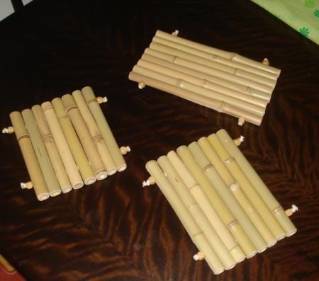 descando de panela em bambú descanso para panela bambú e corda corte e montagem