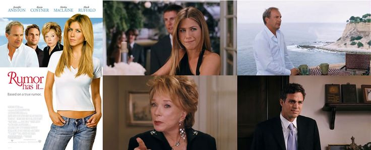 Rumor Has It... (2005) Jennifer Aniston stars as Sarah who seeks out the man who slept with both his mum and his grandmother, a story which inspired The Graduate