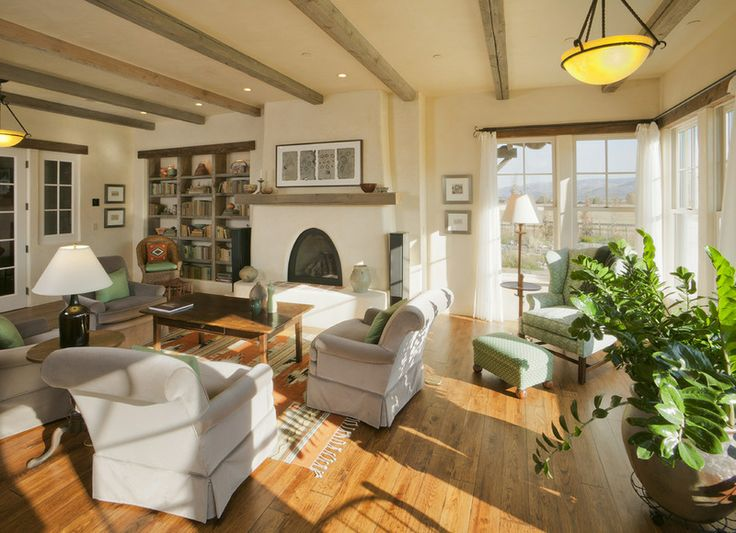 Straw Bale Rustic living room by Lynne Barton Bier - Home on the Range Interiors