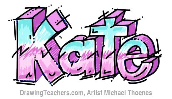 How to Draw 3D Letters Kate<<<< how awesome is this....and im not just saying that because its my name