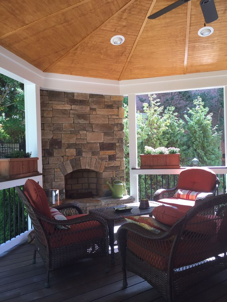 Riverton Covered Porch with Outdoor Fireplace porchideas