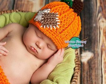 SALE Pumpkin Patch Hat - Crochet Baby Newborn NB Girl Boy Costume Halloween Preemie Christmas Thanksgiving Photo Prop Winter Outfit