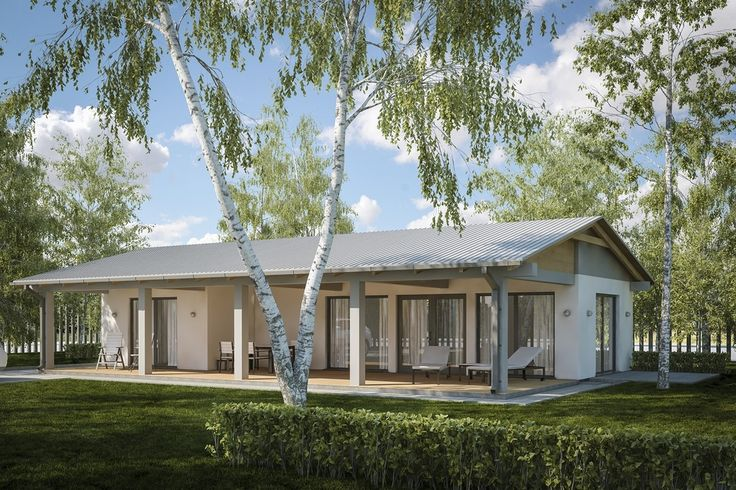 Projekt budynku letniskowego, parterowego, niepodpiwniczonego, z pokojem wypoczynkowym, aneksem kuchennym, dwoma pokojami i łazienką.