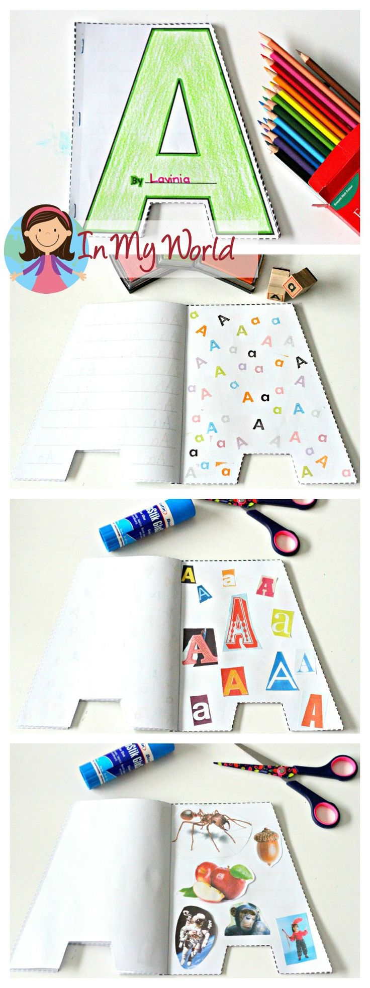 Alphabet Shape Booklets. Perfect for reinforcing letters to preschool and kindergarten students. (Letter stamping, magazine letter hunt, magazine beginning sounds picture hunt).