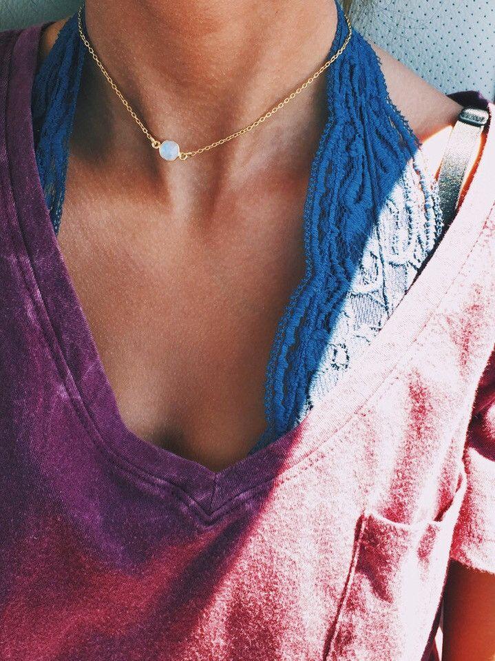 Dainty Moonstone Gold Choker – Stargaze Jewelry