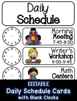 These editable class schedule cards provide you with the perfect way to display your daily schedule in your classroom. Choose from MANY subject options.