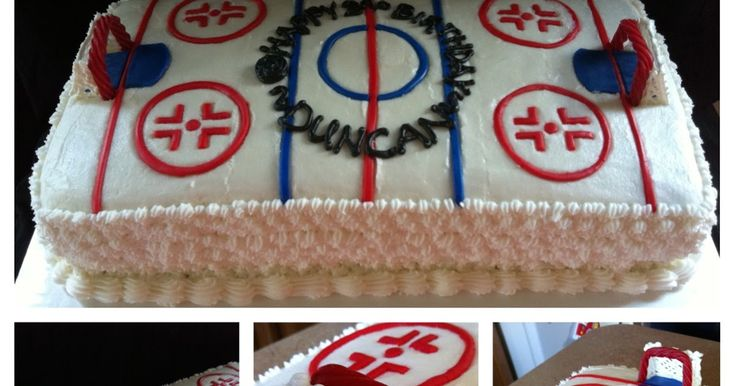 Here is a cake we made for a 3 year old's hockey themed birthday party. The hockey goals were made from red licorice and royal icing....