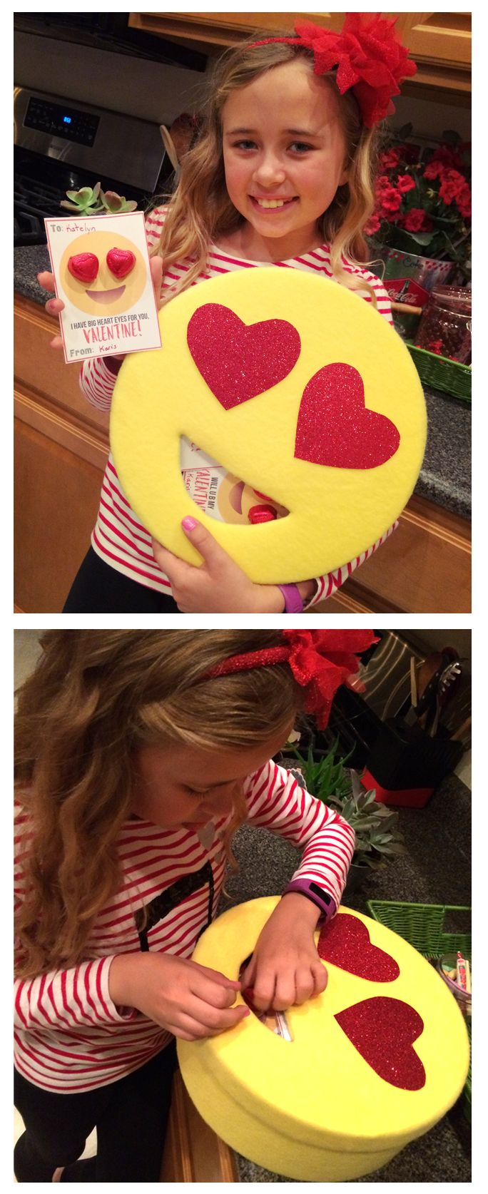 Heart Eyes Emoji Valentine's box. We found the coordinating Valentines at http://www.landeeseelandeedo.com/2016/01/emoji-printable-valentines.html  We used an old hat box. Cut out mouth, covered with yellow flannel (hot glued), and cut heart eyes out of red glitter cardstock. This turned out CUTE<3