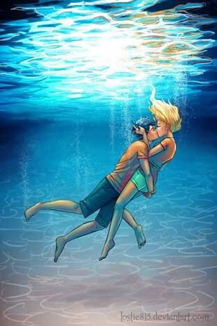 "Percy and Annabeth are on holiday and they're getting ready to go to the beach with the rest of the 7 and Will and Thalia. Percy says to Annabeth ""you would look great in this. Holding up a blue t-shirt with a trident on it and the back saying ms Annabeth Jackson in grey and Annabeth replying ""and you would look better without this"" grabbing Percy's shirt and kissing him."