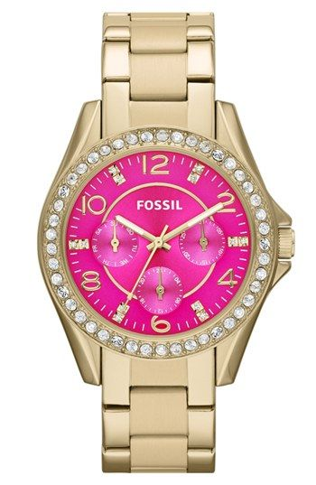 Pretty pink and crystal watch from Fossil.