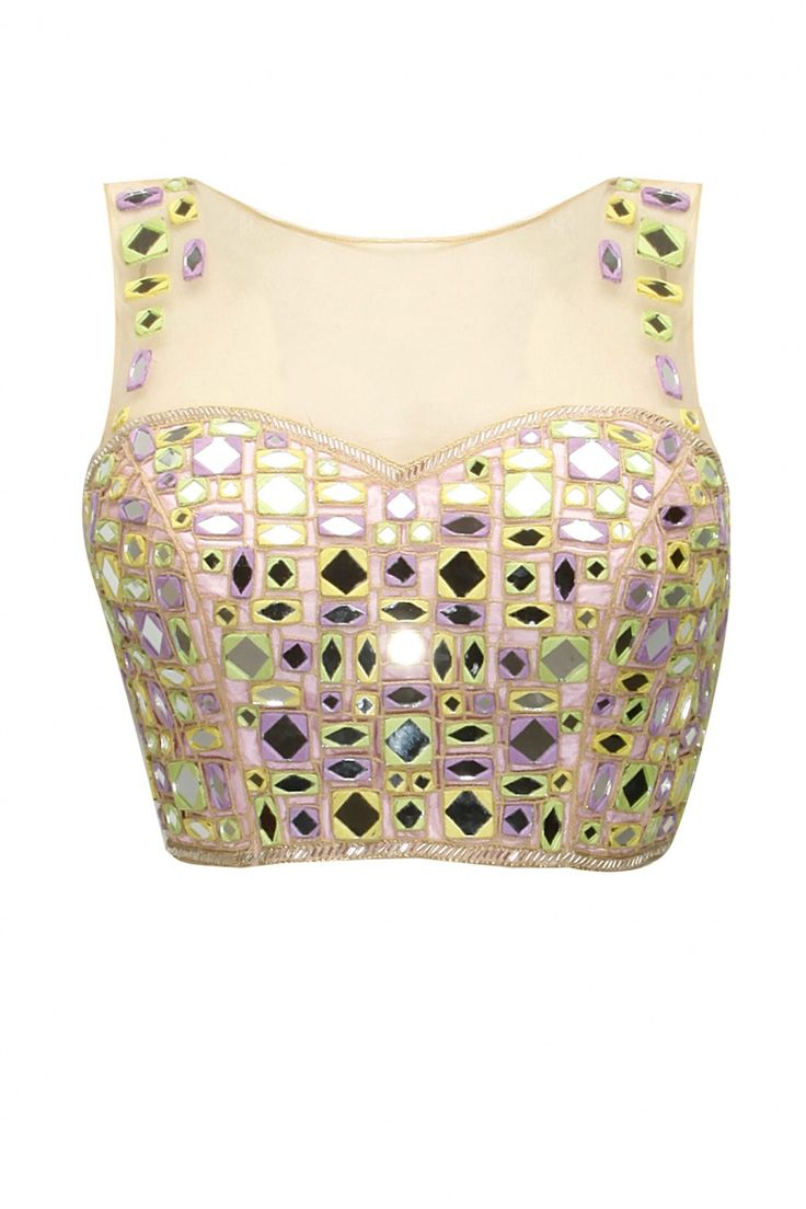 Arpita Mehta Mosaic mint sari with baby pink tube mirror work blouse £577