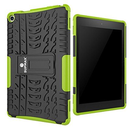 AmazonSmile: SUPMAX Guard Series Rugged Hybrid Dual Layer Case for All-New Amazon Fire HD 8 Case (2016 6th Gen Only) with Kickstand (Green): Computers & Accessories