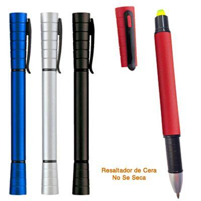 REF:ADVANT 2 EN 1 RES. CERA   Bolígrafo Plástico con Resaltador en Cera. Disponible en Mina Normal.  Con Acabado Metalizado Tipo de Producto: IMPORTADO.  Medida de Bolígrafo: 14 cm largo. Área de Marca: 3 cm ancho x 0.7 cm alto.  Técnica de Marca: Tampografía.  Colores Disponibles: Azul, Silver, Rojo y Negro.  Estado del producto:    Cantidad Mínima de Pedido:200
