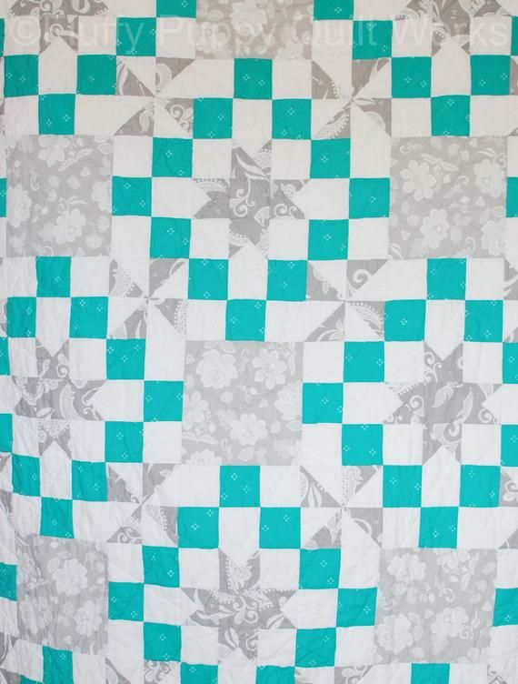 Modern Twin Size Quilt Gray And Teal Throw Contemporary Lap Quilt