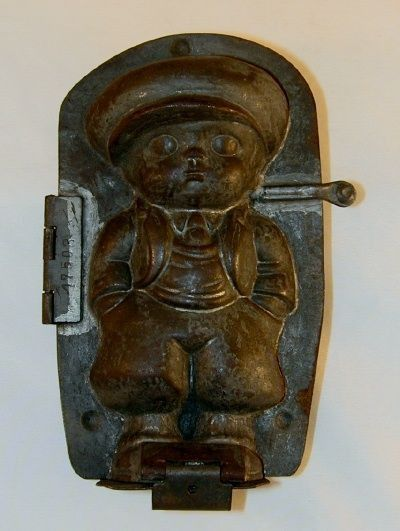 Antique Tin Candy Mold Little Boy in Baggy Pants Wearing a Jacket, Tie and Hat Dresden Germany