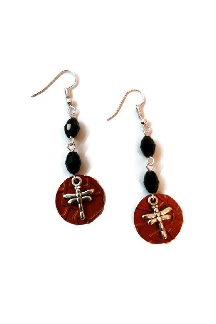 Boucles d'Oreilles Pendantes Perles en Verre Noires - Perles à Facettes - Libellules - Breloques Capsules Nespresso Cuivre : Boucles d'oreille par cap-and-pap