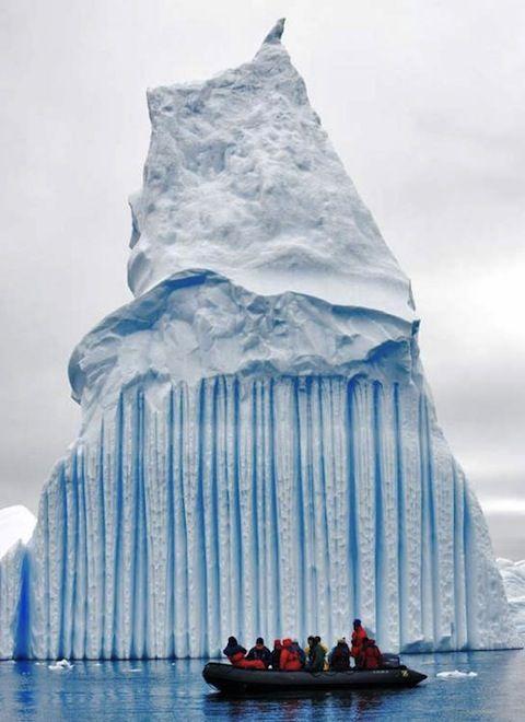 A striped iceberg in Antarctica.