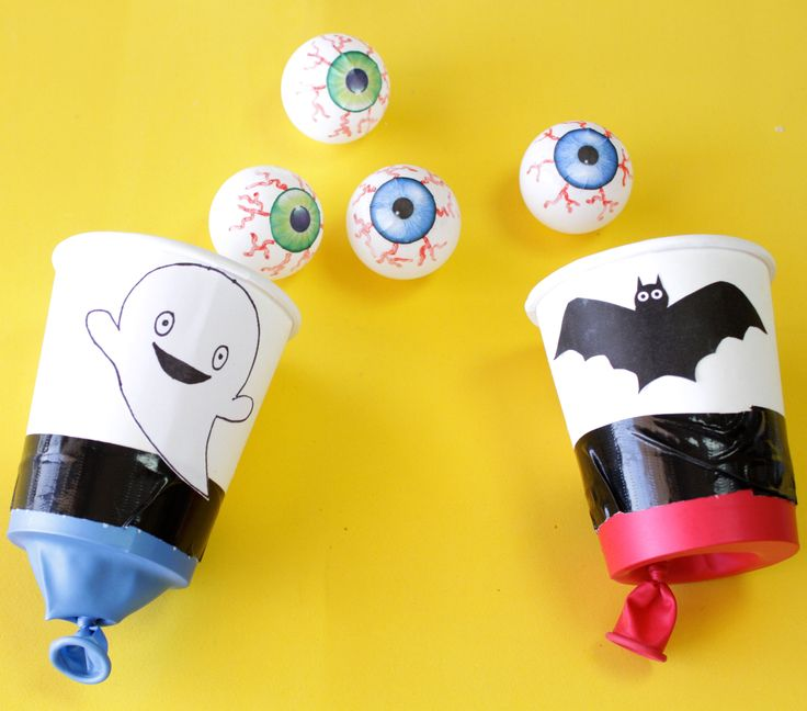 If you are stuck for some fun Halloween game ideas, why not get the kids to make these scary and fun ping pong eyeball shooters?