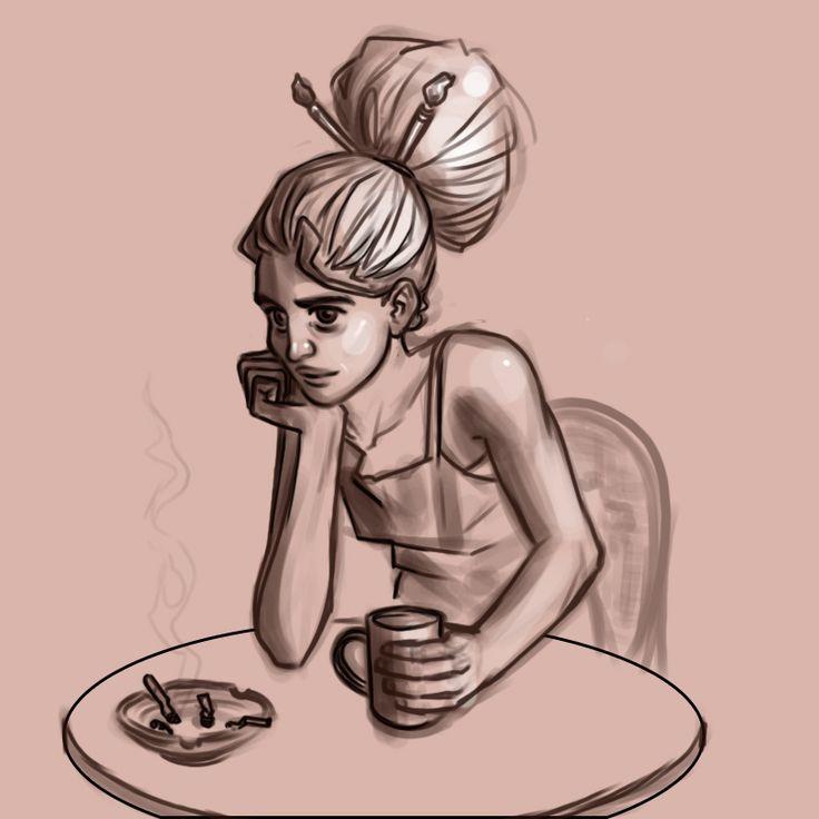 #sketch #digital #artist #coffee #cigarettes