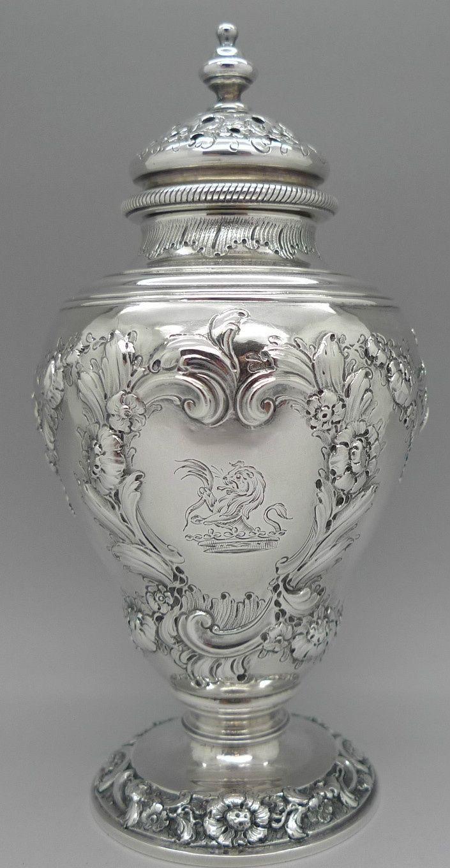 George II period sterling silver muffineer or sugar castor, by John Swift, London c1750