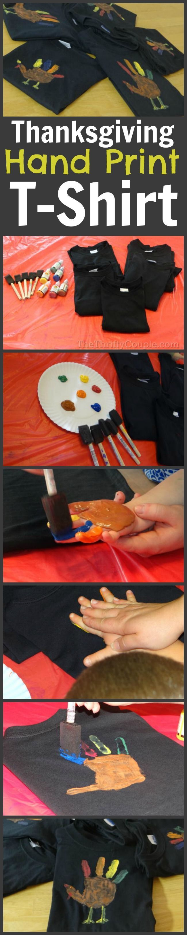 I love handprint and footprint crafts and this one is just awesome with the hand print forming a turkey - perfect for Thanksgiving and the fall season. And it is just so cool that it is on a t-shirt so it is practical too! What a great craft idea for Thanksgiving!