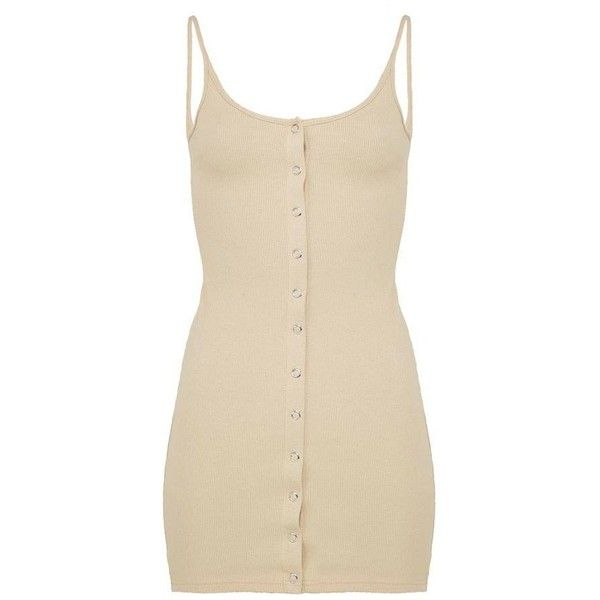 Rib Popper Front Bodycon Dress Beige ($30) ❤ liked on Polyvore featuring tops, silver top, bodycon tops, beige top, stretchy tops and ribbed top