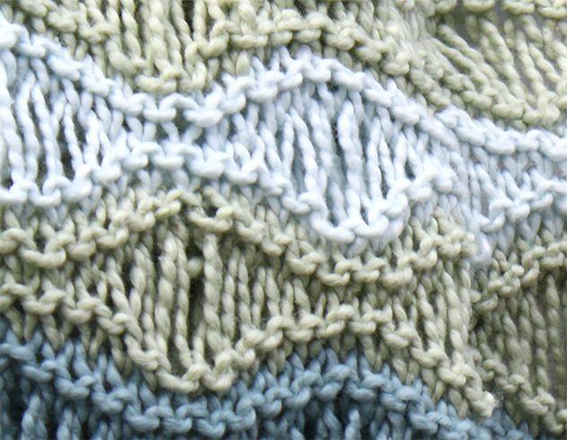 Det er deilig med et lett og luftig teppe til babyen i sommervarmen. Dette er strikket i havskummønster, noe som gjør det elastisk og fint å pakke babyen inn i.