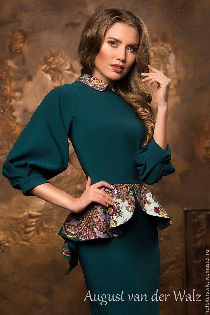 Купить Платье в Русском стиле - разноцветный, однотонный, деловое платье, силуэт, Коктейльное платье