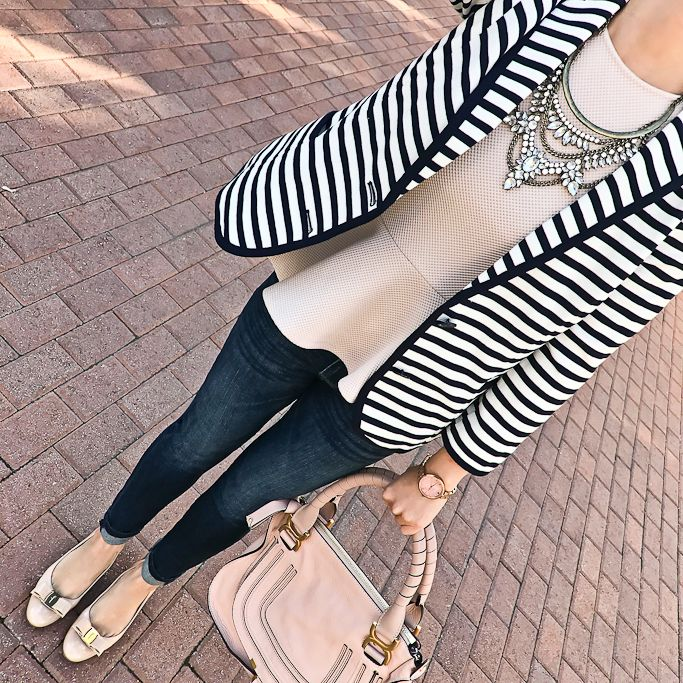 Petite Skinny Ankle Jean, Crystal Grendel Bib, blush peplum top, striped blazer, Ferragamo Vara pumps, Chloe marcie small leather satchel - business casual outfit, petite fashion blog - click the photo for outfit details!