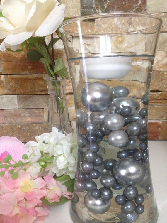 Floating Pearl Centerpiece Gray Silver Pearls 80pc Mix Jumbo Pearl Vase Fillers Table Scatters Pearl Centerpiece Water Beads Centerpiece Vase Fillers