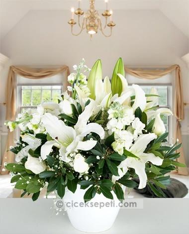 Beyazın en büyüleyici hali, evinizin içinde bir kış bahçesi yaratacak. Zarif lilyum ve beyaz güllerle bu görkeme karşı koyamayacaksınız.  http://www.ciceksepeti.com/seramikte-beyaz-gerbera-lilyum-ve-sebboylar