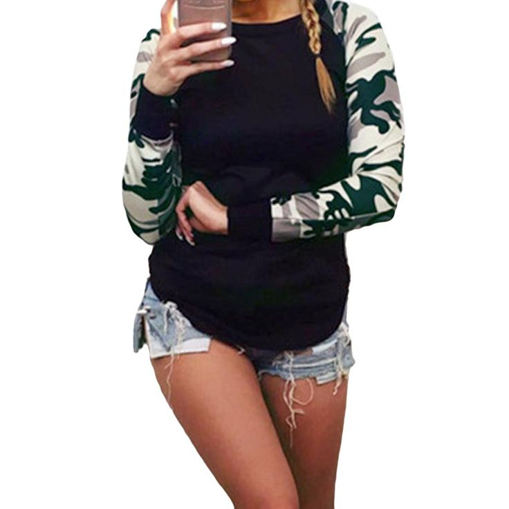 Styledome Women's Long Sleeve Blouse Casual Camouflage Splice Tops Slim  Shirt Black Us 4