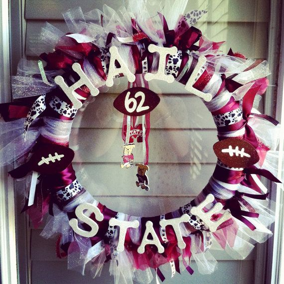 Mississippi State football wreath Hail State by SJSwreaths on Etsy, $45.00