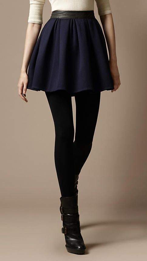 love the boot, tight and skirt combo for fall, very chic