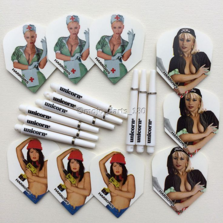 Each kit contains 3 sets of Harrows Dart Flights and 3 sets of Unicorn Gripper 3 Stems. 3 sets of Harrows Sexy Girls Dart Flights (9 x Darts Flights) as seen in the photo. 3 Sets of Unicorn Gripper 3 Shafts. | eBay!