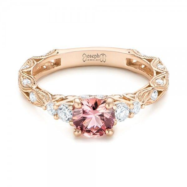 Custom Rose Gold Peach Sapphire and Diamond Engagement Ring #JosephJewelry | Bellevue | Seattle