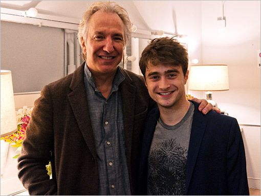 """""""There was a Hogwarts reunion at Broadway's Golden Theatre on Nov. 7 when Daniel Radcliffe nipped backstage to congratulate former Harry Potter co-star Rickman on his Main Stem return in Seminar."""""""